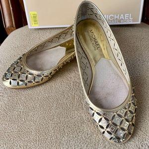 Micheal Kors Gold Gabriella Ballet Flat Size 6